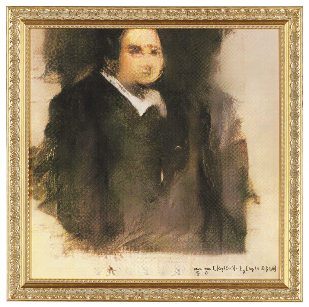 Portrait of Edmond Belamy, 2018, created by GAN (Generative Adversarial Network). Sold for $432,500 on 25 October at Christie's in New York. Image © Obvious