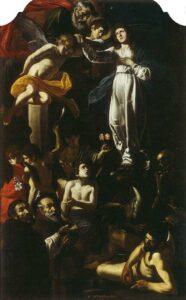 Battistello Caracciolo, Immacolata Concezione con San Domenico e San Francesco di Paola - Chiesa Santa Maria della Stella, Napoli