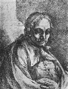 Presunto ritratto di Battistello Caracciolo (1578-1635), pubblicato nel 1773 da Onofrio Giannone (Museo CivicoFilangieri, Napoli)