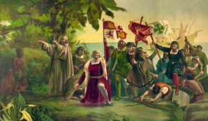 Colombo sbarcato nel Nuovo Mondo - Dióscoro Teófilo de la Puebla Tolín - Collezione Museo del Prado