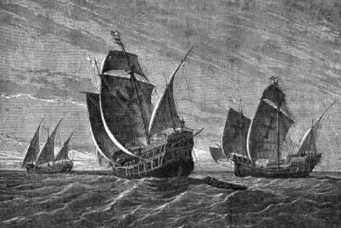 I tre velieri in una stampa di Gustav Adolf Closs del 1892