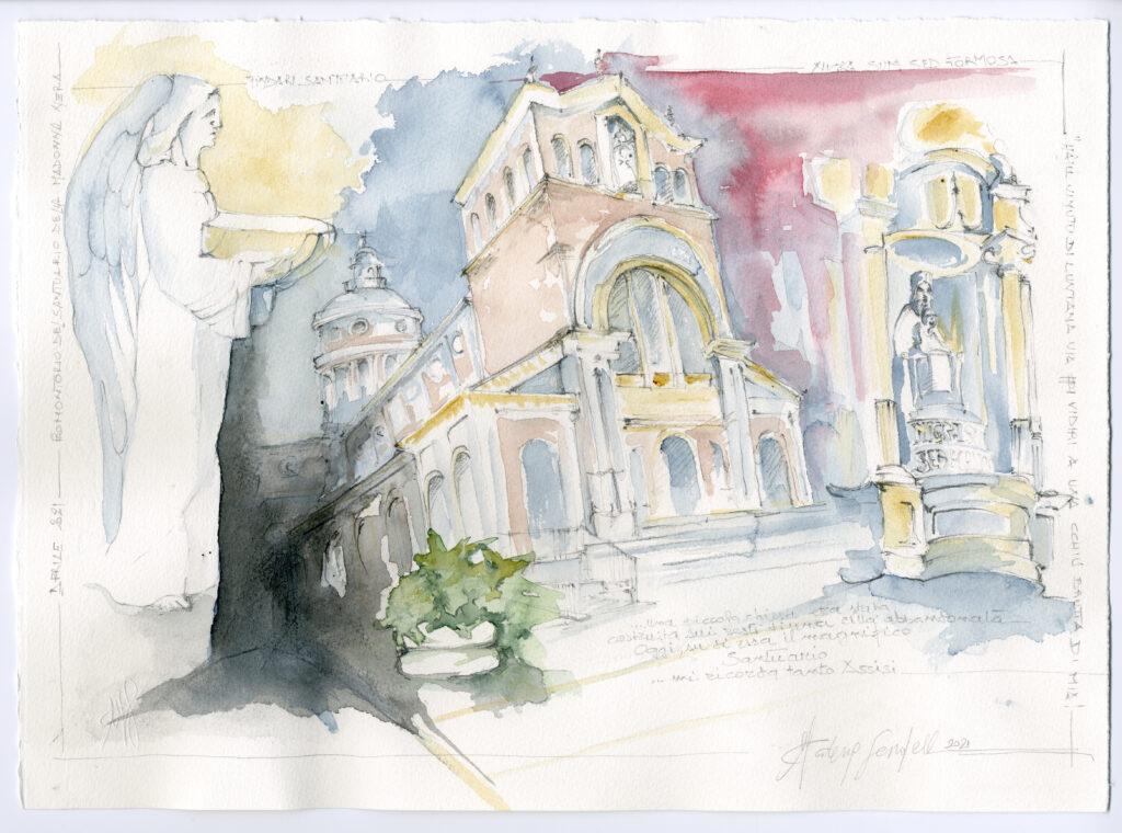 santuario tindari - acquerello di catia sardella