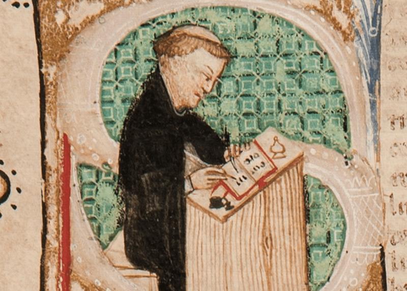 Galvano Fiamma in una miniatura da Cod. Triv., c. 1r – L'opera appartiene all'Archivio Storico Civico e Biblioteca Trivulziana – copyright © Comune di Milano