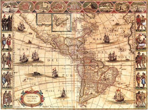 antica cartina americhe